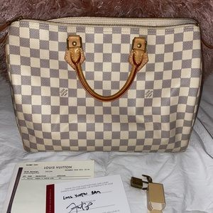 Louis Vuitton Speedy 35- white damier